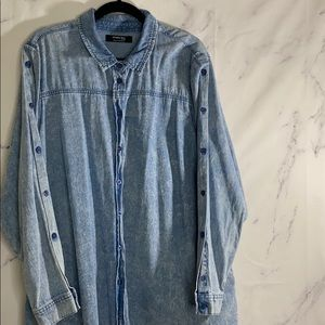 Simply Be. Light Wash Denim Long Sleeved Dress 22